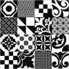 スペインの質パターンBlack&Whiteの無作法な磁器の床タイル