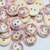 Hello Kitty дерева кофта кнопка с двумя отверстиями
