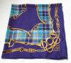 Check & Chain Foulard en soie violet / Foulard (HWBS009)