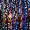Madera y puesta del sol en pintura al óleo