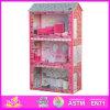 Nuovo giocattolo di legno sveglio del Dollhouse 2014, giocattolo bello popolare del Dollhouse dei bambini, giocattolo di legno W06A045 del Dollhouse del bambino di vendita di colore caldo di colore rosa