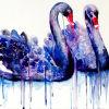 Cisne pintado a mano elegante Pareja atractiva púrpura azul Dos cisne pintura al óleo animal en lona hecha a mano de pintura para la decoración de la oficina