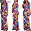 Печать Kiannah Multi-Color ввергая платье L51410 V-Шеи макси