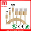 Van de Micro- van de Kabels van de Telefoon van het aluminium Mobiel het Laden USB aan Kabel van usb- Gegevens kabel-Goud