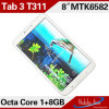 Плата 3 T311 Good Quality Tablets Quad Core 8inch СРЕДНЕЕ с Квадом-Core 1GB+8GB Dual HD Cameras Mt6582 1.3GHz