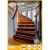 Escadas de madeira helicoidais curvadas da balaustrada de vidro da escadaria com trilhos