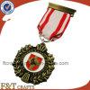 3D rami di ulivo Old Antique Metal Medal Badge con Ribbon