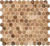 Плитка мрамора мозаики Brown шестиугольной каменной плитки мраморный