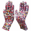 Печать цветов перчатки нейлоновые перчатки PU покрытием перчатки