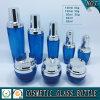 青い化粧品の包装のガラスビンおよび瓶