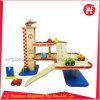 Juguete de madera simulado de madera de tres pisos del estacionamiento del estacionamiento de la gasolinera del juguete