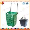Cesta de compra plástica do supermercado da capacidade elevada com rodas (ZHB179)