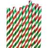 Pajas de beber de papel del partido rayado verde rojo al por mayor de la hoja