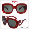 Óculos de sol de plástico para senhoras com grande quadro quadrado e templo especial (WSP508242)