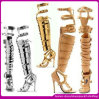 El alto verano de cuero de Genuinue del alto talón de la manera de las sandalias del gladiador del muslo atractivo anuda las sandalias de las mujeres