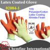 10g желтый полиэстер / хлопок трикотажные перчатки с Оранжевый латекса морщин покрытия / EN388: 2121