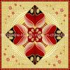 赤いおよび金贅沢な困惑のタイルはイスラム教グループで普及している