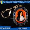 Trousseau de clés rond d'émail de photo en métal de cadeau de promotion