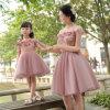 A menina de flor formal de Tulle do vestido da filha cor-de-rosa da matriz das meninas veste F201567