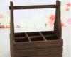 Cesta hecha a mano de madera del vino del soporte de seis vinos con una maneta