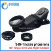 Teléfono móvil lente de la cámara 3 en 1 lente de la lente zoom para el teléfono móvil con Ojo de Pez + lente gran angular + lente macro
