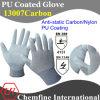 13G серого Anti-Static углерода/Нейлон вязаные рукавицы с белыми PU гладкого покрытия/ EN388: 4131; EN1149