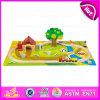 2015 de madera barata vía férrea, Toy feliz jugando juego de tren tren de madera, juguetes de madera al aire libre 45/S de Ferrocarril de juguete Juego de W04D012.