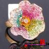 Anel grande do Rhinestone da flor da liga do zinco (BH0332)