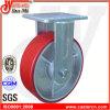rueda rígida del echador de la PU del rojo resistente 6  X2