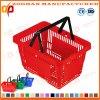 Traitement en plastique de supermarché normal le double portent le panier à provisions (Zhb61)