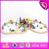 2015 Juguete de madera del tren de los nuevos cabritos, juguete de madera del tren de los niños populares, juguete de madera del tren del bebé de la alta calidad fijado (CON 70PCS) W04c008