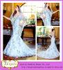 Bezauberndes Hot Sale Floor Length Mermaid V-Neck Button Back Royal Blue und White Wedding Dress (WD21)