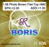 1.56 Фотохромный объектив Brown плосковерхний Hmc оптически