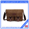 Fashion Designer Washed Canvas Sacs Messenger avec cuir véritable (MSB-002)