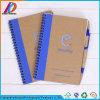 Förderung-Drucken aufbereitetes gewundenes Notizbuch mit Feder