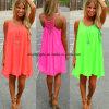 Платья лета флуоресцирования платья пляжа женщин женщины типа лета платья женщин маркизета женского шифоновые одевая плюс размер