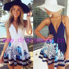 Платье V-Шеи лета Euramerican напечатанное расчалками