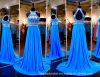 Halter-Abschlussball-Partei bekleidet das Blau, das Kristall-Abend-Kleid Ld15294 bördelt