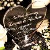 Regalo personalizado de la placa del corazón / del rectángulo del aniversario de boda