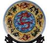 Antigüedades chinas plato de porcelana con estante