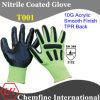 10g зеленый акрилового волокна вязаные рукавицы с черными нитриловые гладкого покрытия и TPR назад/ EN388: 3122 (T001)