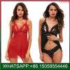 Les femmes de la Lingerie Nuisette dentelle rouge sangle col V Chemise noire de vêtements de nuit
