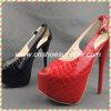 Сексуальная открытая партия повелительницы высокой пятки платформы пальца ноги красная кожаный обувает женщин