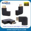 HDMI Weibchen zum männlichen Verbinder mit linke Drehung-Winkel-rechtsdrehendem Winkel für HDTV 1080P