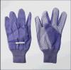 Gant de jardin de coton de paume pointillé PVC de Purple de Madame (2621)