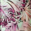 Цветок и напечатанная листьями Silk сатинировка