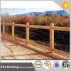 Pasamano de madera al aire libre del cable del acero inoxidable de la barandilla