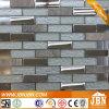 Balcón Pared de piedra, acero inoxidable y blanco Mosaico de vidrio (M855058)