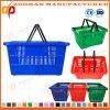 Nouveau panier de magasinage en plastique coloré avec deux poignées (Zhb56)