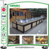 Super marché et en acier inoxydable en bois de fruits et vegetales Rack